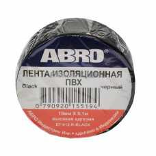 Изолента черная ABRO (19 мм х 9,1 м) ЕТ-912 #