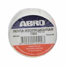 Изолента белая ABRO (19 мм х 9,1 м) ЕТ-912 #